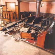 Burned out pews
